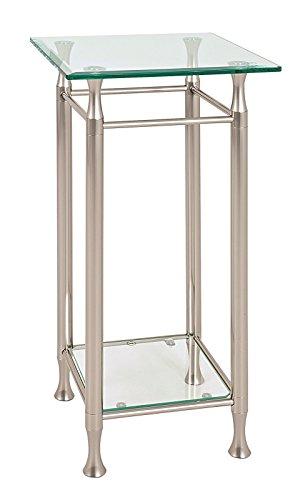 Haku Telefonkonsole BZW. Glaskonsole aus Sicherheitsklarglas 10mm und Edelstahloptik; Maße (B/T/H) in cm: 35x35x72