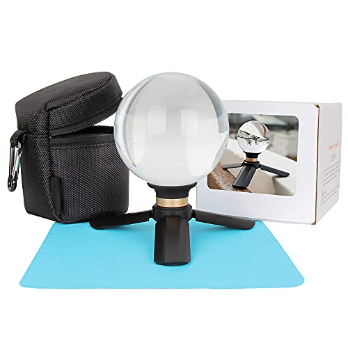 Crystal Ball Photography Lens Ball Sphere 90mm K9 Clea Props Ball with Stand Tripod and Sunction Mount Base Decorative Glass Ball with Padded Sleeve Bag by Besnfoto