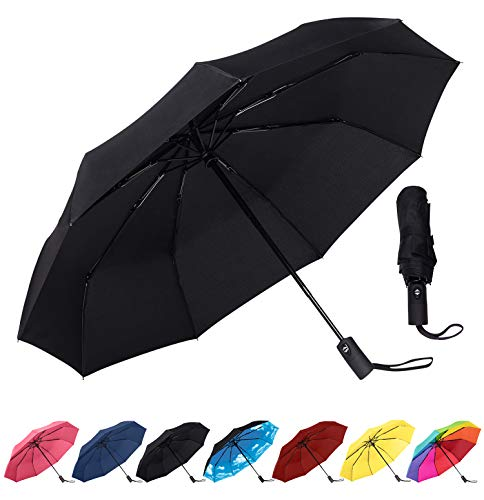 Rain-Mate Travel Umbrella - Windproof, Reinforced Canopy, Ergonomic Handle, Auto Open/Close (Navy Blue)