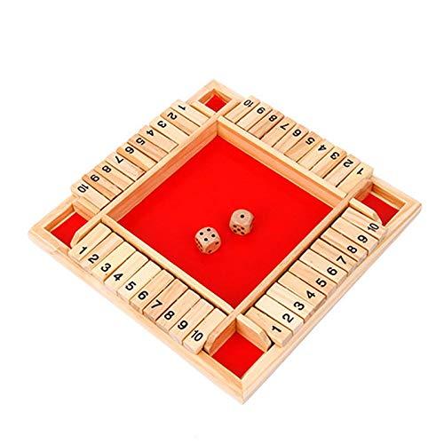 Cierra la Caja Juego, Shut The Box Juego de Mesa de Madera, Flop Digital de Tablero Numérico de Madera para Niños, para Juegos Familiares para Padres e Hijos Fiesta, Juguetes Educativos (Rojo):
