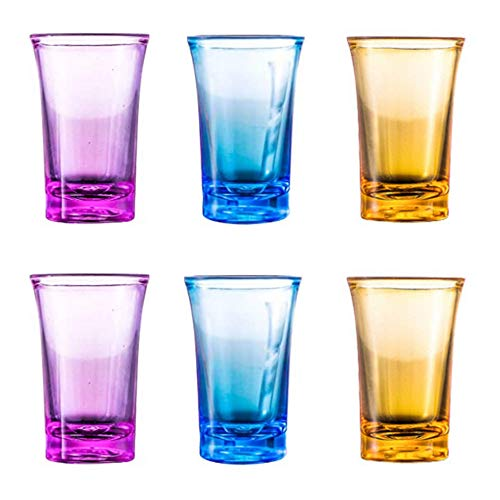 LAVOECO 6 Pack Colored Acrylic Plastic Shot Glasses Perfect for Shot Dspenser, Bars, Parties, All Liquor, Cocktails & Family Game Night ,Colorful shot glass (Capacity 1.2 oz Mixed 6 Pack)
