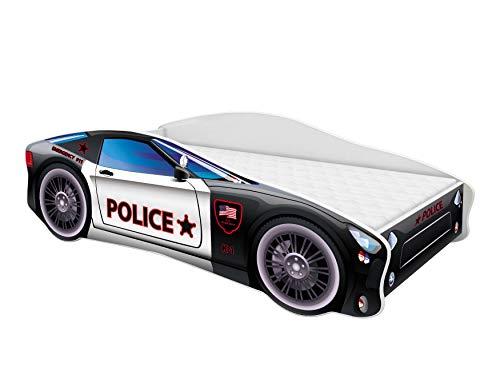 Kinderbett Autobett Auto Junior mit Lattenrost und Matratze 140x70 160x80 180x80 ACMA (160x80, 3)
