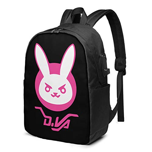 Dva Bunny Logo Backpack Computer Backpack Travel Bag for Business Trip Large Capacity 17 Inch with USB Interface
