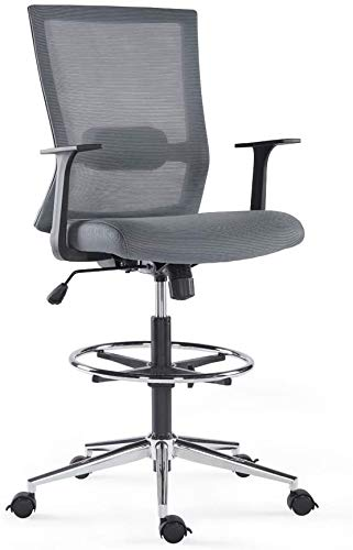Sunon Ergonomic Mid-Back Mesh Drafting Chair with Adjustable Foot Ring Fixed Armrests, Grey