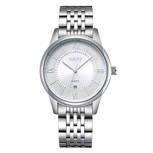 Relojes de Fecha para Hombre Reloj de Cuarzo analógico Resistente al Agua -C