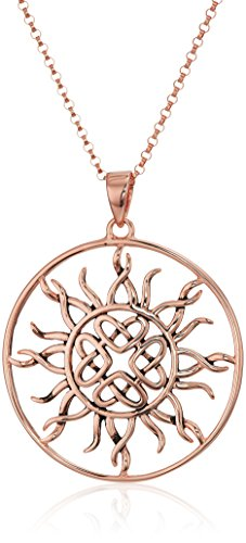14k Rose Gold Plated Sterling Silver Celtic Love Knot Sun Pendant, 18'