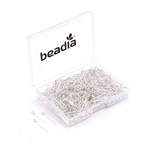 BEADIA Open Eye Pins Silver Head Pins for DIY Jewelry Making 20mm 500pcs