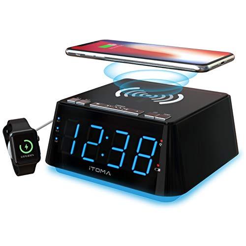 Digitaler Wecker mit kabellose Ladegerät, 1,2-Zoll-Anzeige, Dual-Alarm, 4-stufige Dimmer-Steuerung, Erfassen der Raumtemperatur, Kabelloses Ladegerät für iPhone X, Snooze, USB-Ladegerät(CKS801)