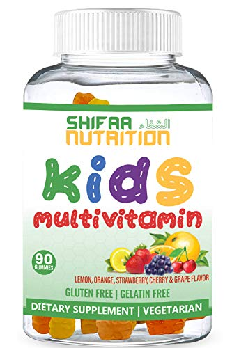 SHIFAA NUTRITION Halal & Vegetarian Gummy Vitamins for Kids | 13 Vitamins, Minerals & Antioxidants for Children | Natural & Free of Gelatin Gluten Dairy Eggs Peanuts Soy | Halal Vitamins | 90 Gummies