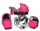 Allivio - Sistema de viaje 3 en 1, silla de paseo, carrito con capazo y silla de coche, RUEDAS GIRATORIAS y accesorios (Sistema de viaje 3 en 1, fucsia)
