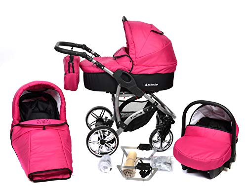 ALLIVIO, 3-in-1 Travel System with Baby Pram, Car Seat, Pushchair & Accessories (3in1 Travel System -Baby tub, Sport seat, Car seat, Black & Pink)