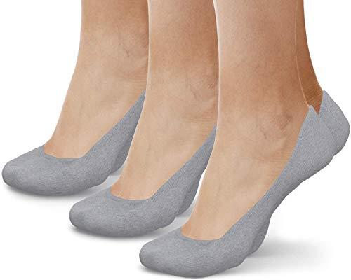 Physix Gear Füßlinge Damen & Herren rutschfeste Unsichtbare Socken mit Anti-Slip Silikonpad No Show Socken Invisible Socks Lochfreie Füsslinge Ballerina Socken GRAU (3 Paar)