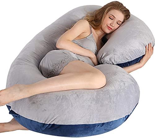 MUMO Pregnancy Pillow C Shaped Full Body Pillow with Velvet Cover Maternity Pillow for Pregnant...