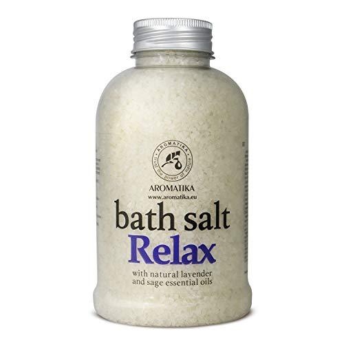 Badesalz Relaxing 600g - Meersalz mit Natürlichem Ätherischen Lavendelöl & Salbeiöl - Besten für Guten Schlaf - Stressabbau - Baden - Körperpflege - Wellness - Schönheit - Entspannung - Aromatherapie