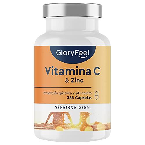 Vitamina C 1000mg + Zinc - 365 Cápsulas Veganas - Apoya el sistema inmunológico y reducen la fatiga - Vitamina C Tamponada con Protección gástrica y pH neutro - Sin aditivos