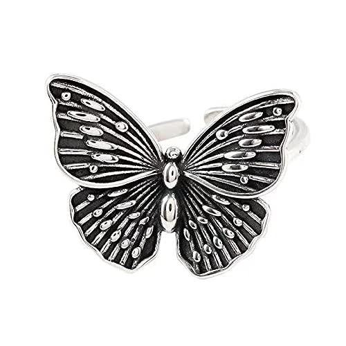 Encanto Harajuku gótico Vintage anillos de mariposa huecos para mujeres anillos ajustables boda fiesta declaración joyería regalo