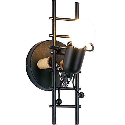 BarcelonaLED Aplique de Pared Humanoide Vintage Nordico Creativo Industrial Rustico Negro con Muñeco Articulado y Escalera para Bombilla E27 Interior Dormitorio Juvenil Niño