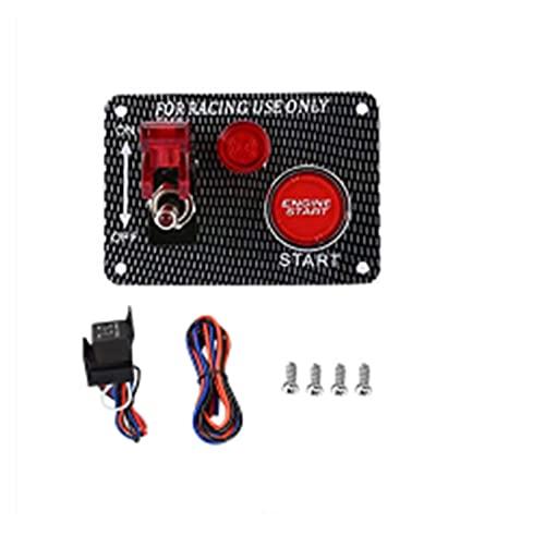 JIAQING El Panel del Interruptor de Encendido 12V LED Ajuste para el botón de Arranque del Motor del Motor del Motor del automóvil del Interruptor de alterno de la Fibra de Carbo