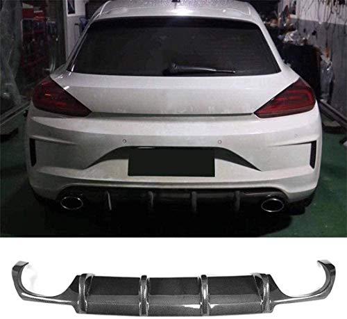 XKCCHW Hinten Diffusor Für VW Scirocco R R20 Stoßstange 2015-2018 Hinten Lip Spoiler Dual Auspuff 4 Outlet Limousine Heckdiffusor