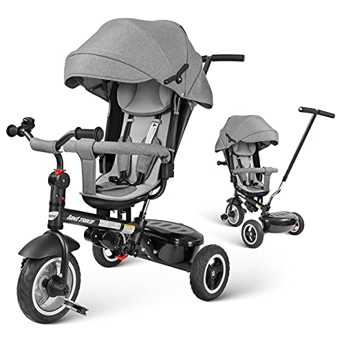 besrey Baby Tricycle 8 in 1 Kid Push Trike Stroller Bike with Parent Handle Rear Facing Rubber Wheel Boy Girl Toy 12 M - 6 Years