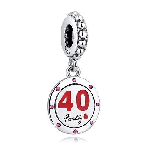 DFGSDFB - Pulsera de plata de ley 925, años de corazón, 16, 21, 40, 50, cuentas de cristal Cz