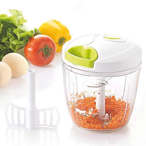 NASS© 2in1 Zerkleinerer, manuell, Gemüseschneider, Ei Schaumschläger, Zwiebelhacker, 5 Edelstahl Klingen, weiß-grün