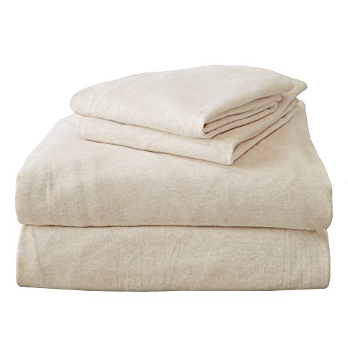 Queen Jersey Knit Sheets. All Season, Soft, Cozy Flannel Jersey T-Shirt Sheet Set. Cotton Blend Jersey Sheets. Cozy Flex Collection (Queen, Oatmeal)