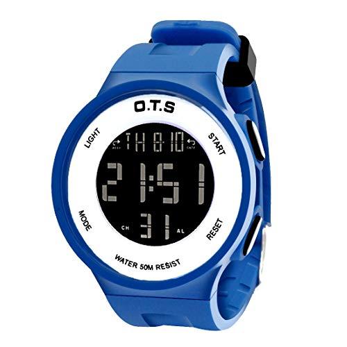 OTS - Niños Reloj Digital Multifuncional Impermeable Regalo Infantil para Niñas Alarma Calentario Cronógrafo Electrónico con Luz - Azul