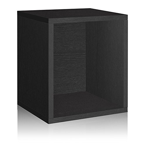 Way Basics Cube Plus Cubby Organizer (Tool-Free Assembly and Uniquely Crafted from Sustainable Non Toxic zBoard Paperboard), Black Wood Grain