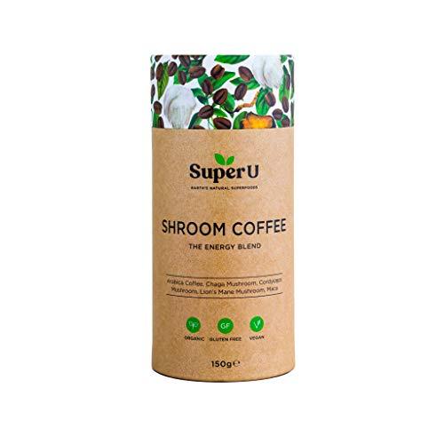 Super U Shroom Coffee (60 Portionen) – Löslicher Bio-Pilzkaffee mit Chaga, Cordyceps und Löwenmähnenpilz. 100% Arabica Kaffee!
