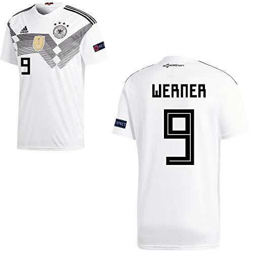 adidas Fußball DFB Deutschland Home Trikot WM 2018 Herren Werner 9 mit Respekt Logo Gr S
