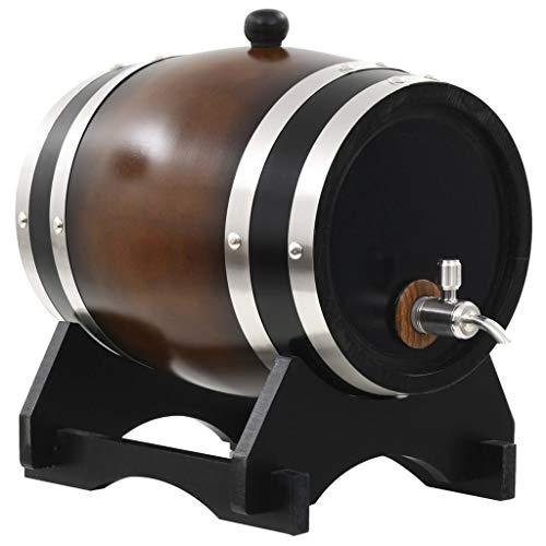Dispensador de barril de vino de madera de roble vintage Barril de envejecimiento de roble para almacenar whisky,cerveza,vino,bourbon,tequila,ron,salsa picante,bricolaje a su gusto (Black,6L)