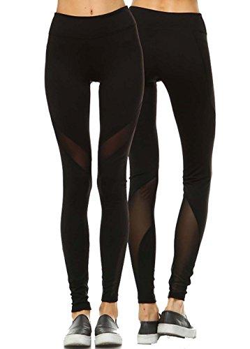 Mono B Women's Performance Activewear - Yoga Leggings with Sleek Contrast Mesh Panels (Medium, AP1522 Black)