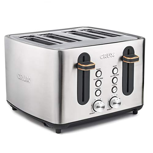 CRUX 4-Slice Extra Wide Slot Stainless Steel...