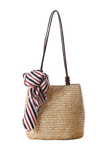 ZUMUii Butterme Bolso de Verano de Mujer de Moda Bolsa de Hombro Tejido de Paja Bolsa de Playa de Paja Bolso Casual Totes(Beige)