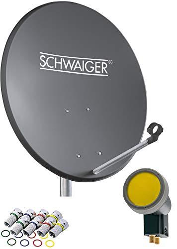 SCHWAIGER -715873- Sat Anlage, Satellitenschüssel mit Twin LNB (digital) & 8 F-Steckern 7 mm, Sat Antenne aus Aluminium, Anthrazit, 55 x 62 cm