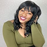 14 Inch Wavy Wig with Bangs Short Curly Wavy Wigs for Black Women Body Wave Bob Wig Natural Looking Synthetic Curly Wigs for Party Daily Use(14',1B)