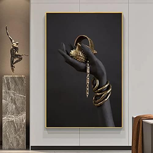 Mano de Mujer Negra con Joyas de Oro, Pinturas en Lienzo para Pared, Carteles e Impresiones de Pared, Impresiones de Arte Pop, decoración de Pared 20 x 28 Pulgadas