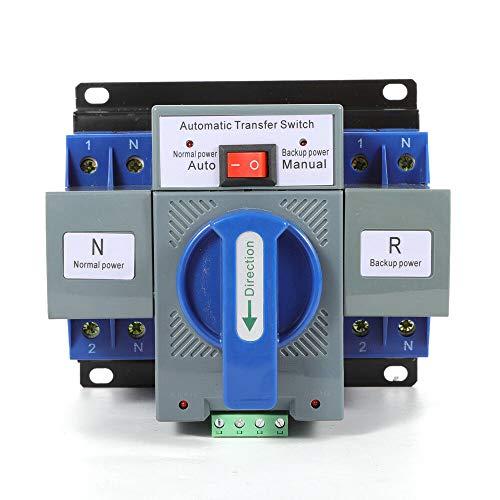 Futchoy Conmutador automático 2/4P, 6-63 A, Dual Power, conmutador de transferencia automático, 220 V, CA, 50 Hz, nivel CB automático, M6,2S, tiempo de conversión (2P/63A)