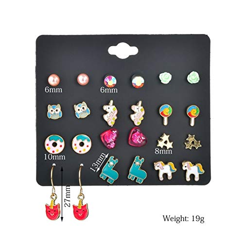 MURUI Eh Lollipop Unicorn 12 Pares Pendientes Set Aley Donut Owl Pendientes yc616 (Color : Photo Color)