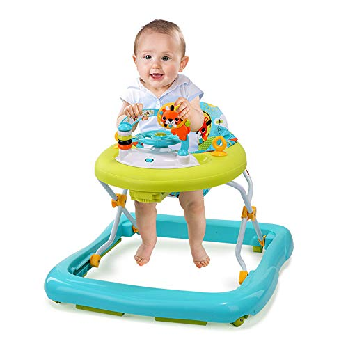 MYRCLMY Lauflernhilfe Baby Walker Player Gehfrei Laufhilfe Lauflernwagen Laufstall Höhenverstellbar Spielcenter und Rollen Baby Walker bunt