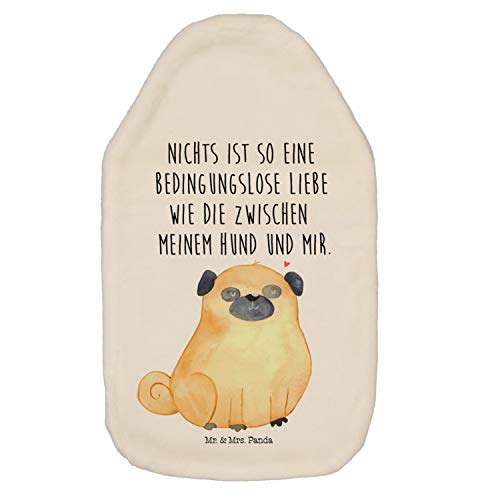 Mr. & Mrs. Panda Kinderwärmflasche, Wärmekissen, Wärmflasche Mops mit Spruch - Farbe Weiß