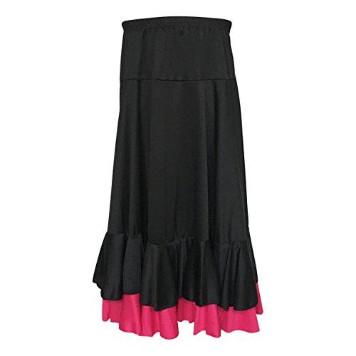 La Señorita Falda Flamenco Sévillane con 2 volantes niña negro rosa