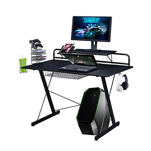 TECHNI SPORT TS-200 Carbon Computer Gaming Desk with Shelving, Black