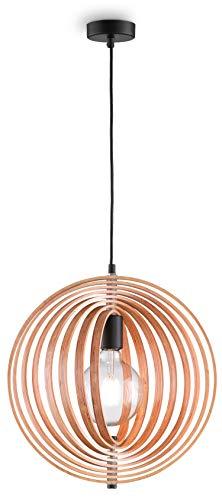 loxomo - houten hanglamp in Mobilé-stijl, Ø 40 cm x 140 cm, hanglamp met beweegbare frame-elementen, plafondlamp voor woon- en eetkamer, max.60W, decoratieve lamp met E27 stopcontact, IP20, hout naturel