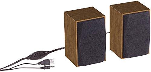 auvisio Computerboxen: Aktive PC-Stereo-Holz-Lautsprecher mit USB-Stromversorgung, 6 Watt (Notebook Lautsprecher)