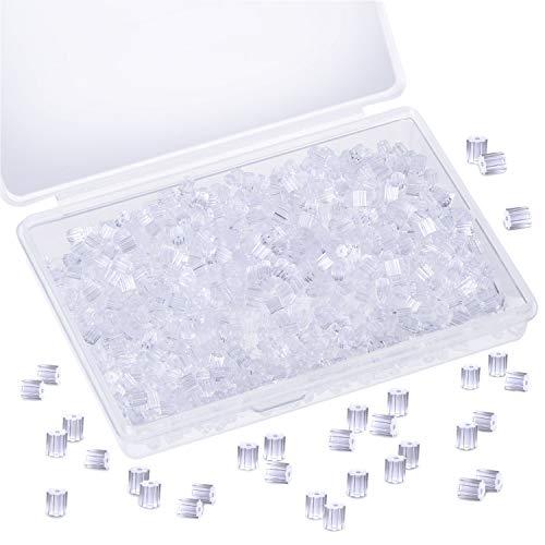 1000 Piezas Tuercas de Pendientes Transparente Topes Pendientes Seguridad de Silicona Reemplazo de Respaldos de Pendientes con Caja de Plástico para Anzuelo Aretes Espárragos