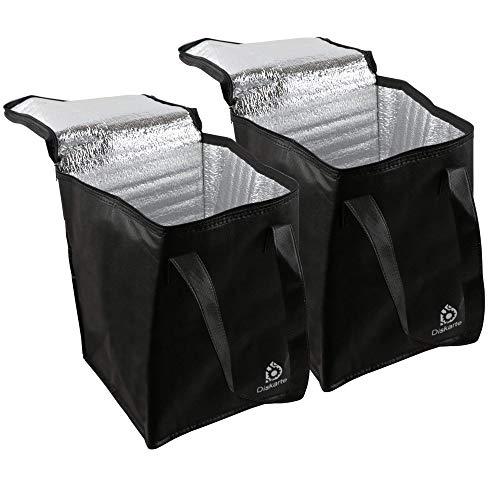 Commercial Quality Food Delivery Bag- 2 Piece Set Black Delivery Bag for Food- 13' x 9' x 9' Dimensions- 80 GSM Nonwoven Polypropylene- Practical and Comfortable