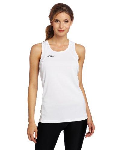 Camiseta de mujer de intervalos Asics, grande, blanca / blanca