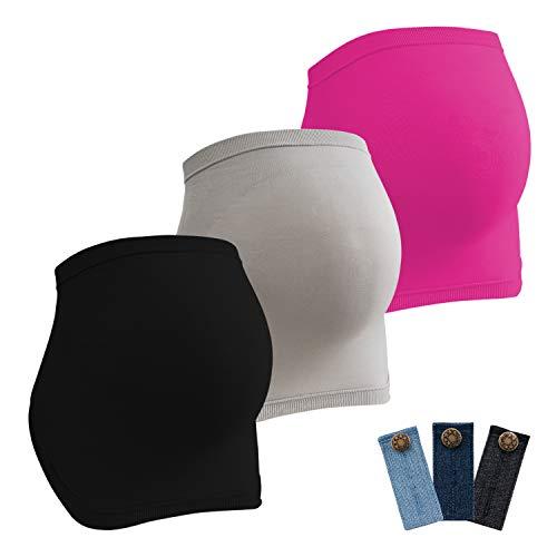 HBselect Fajas De Embarazo para Premamá Pack 3 Multicolor Banda Faja para Soporte Abdominal Durante El Embarazo con 3 Hebillas De Extensión Cintura para Embarazadas